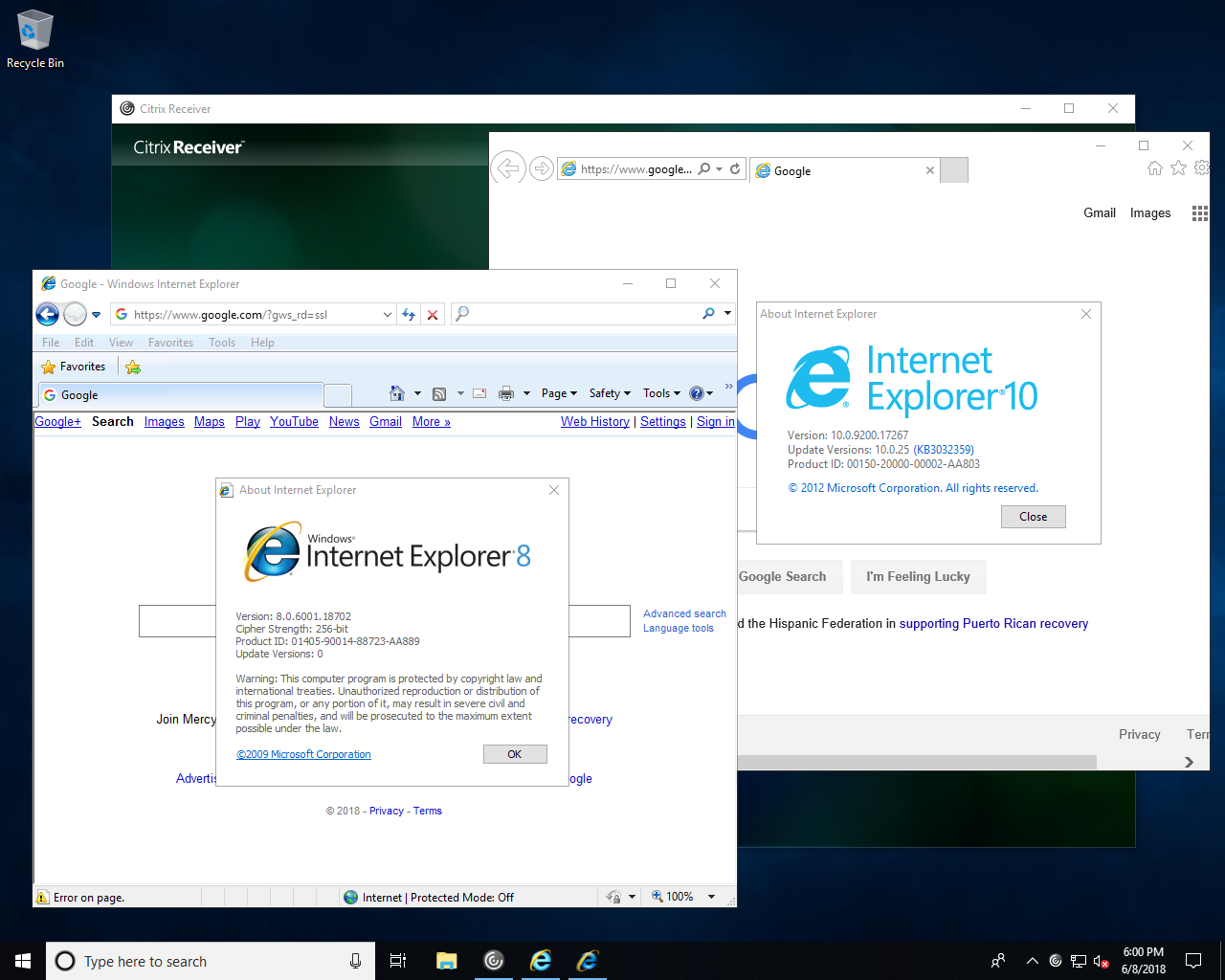 Citrix apps receiver ie side-by-side IE
