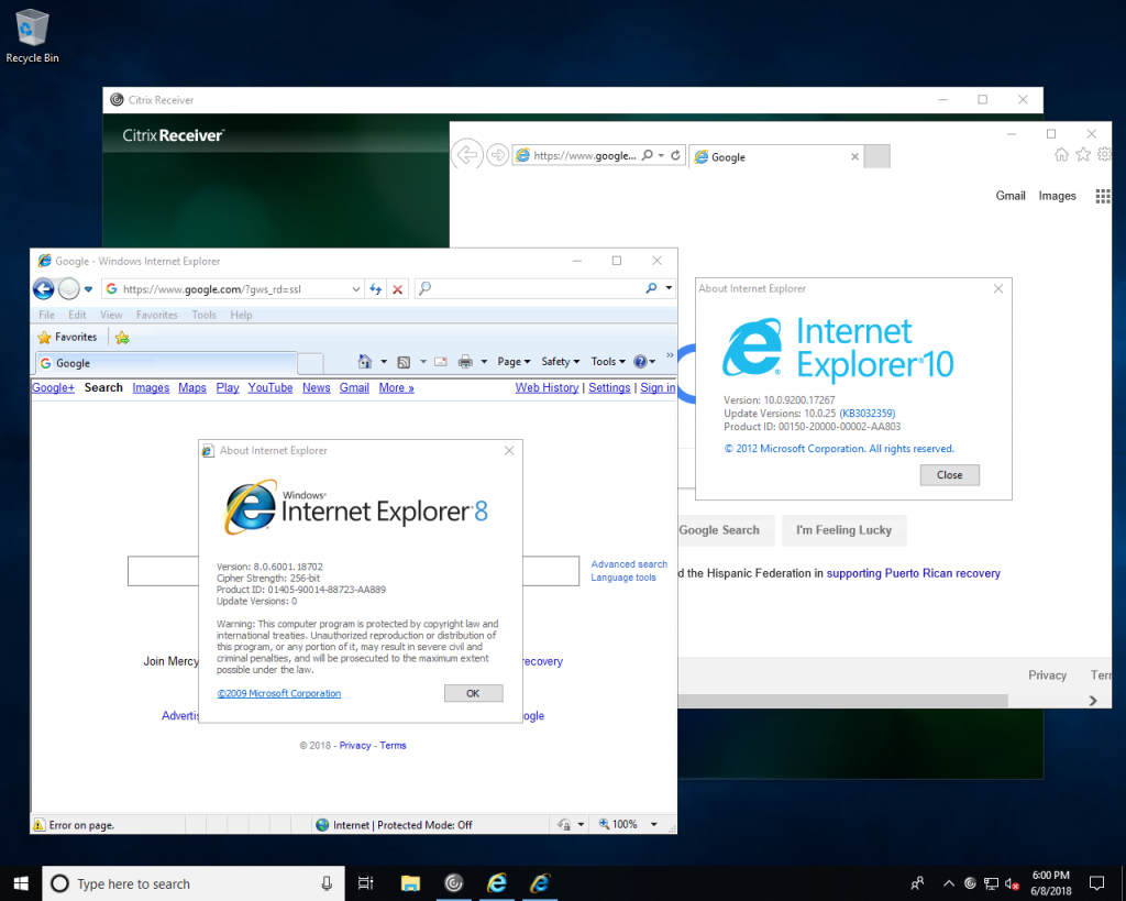Citrix side-by-side IE
