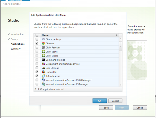 Citrix studio application selection