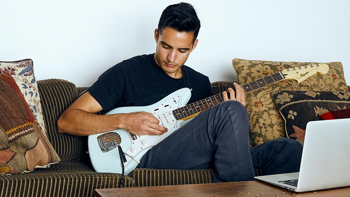 Electric guitar practice.