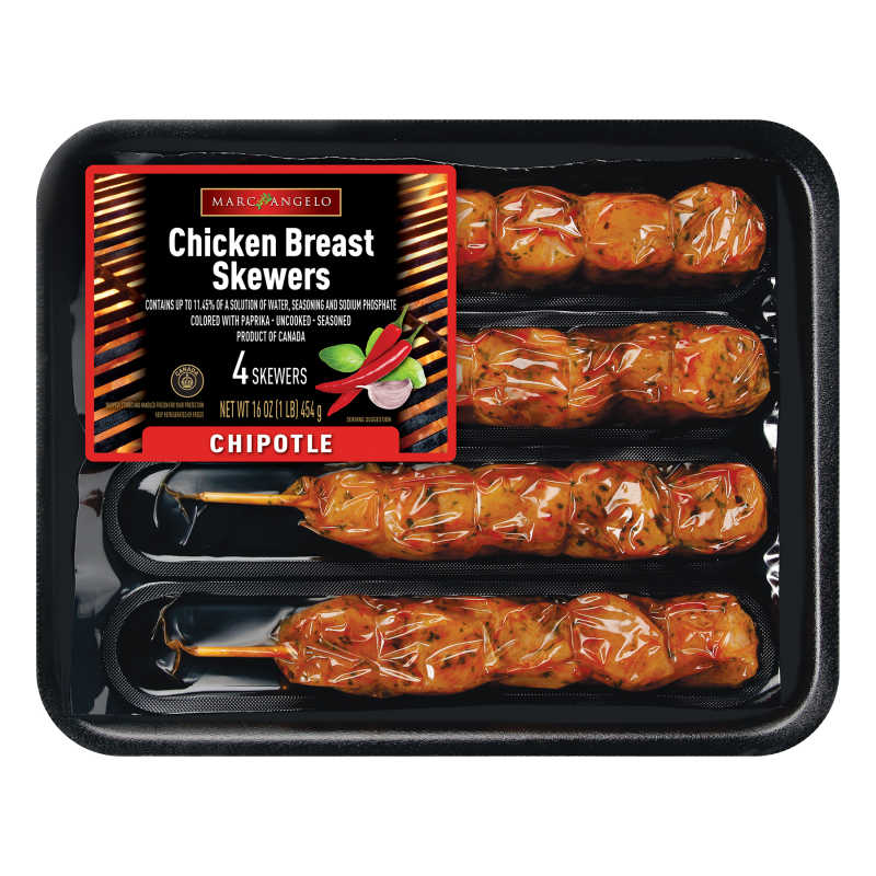 Chipotle Chicken Breast Skewers Overwrapped Packaging