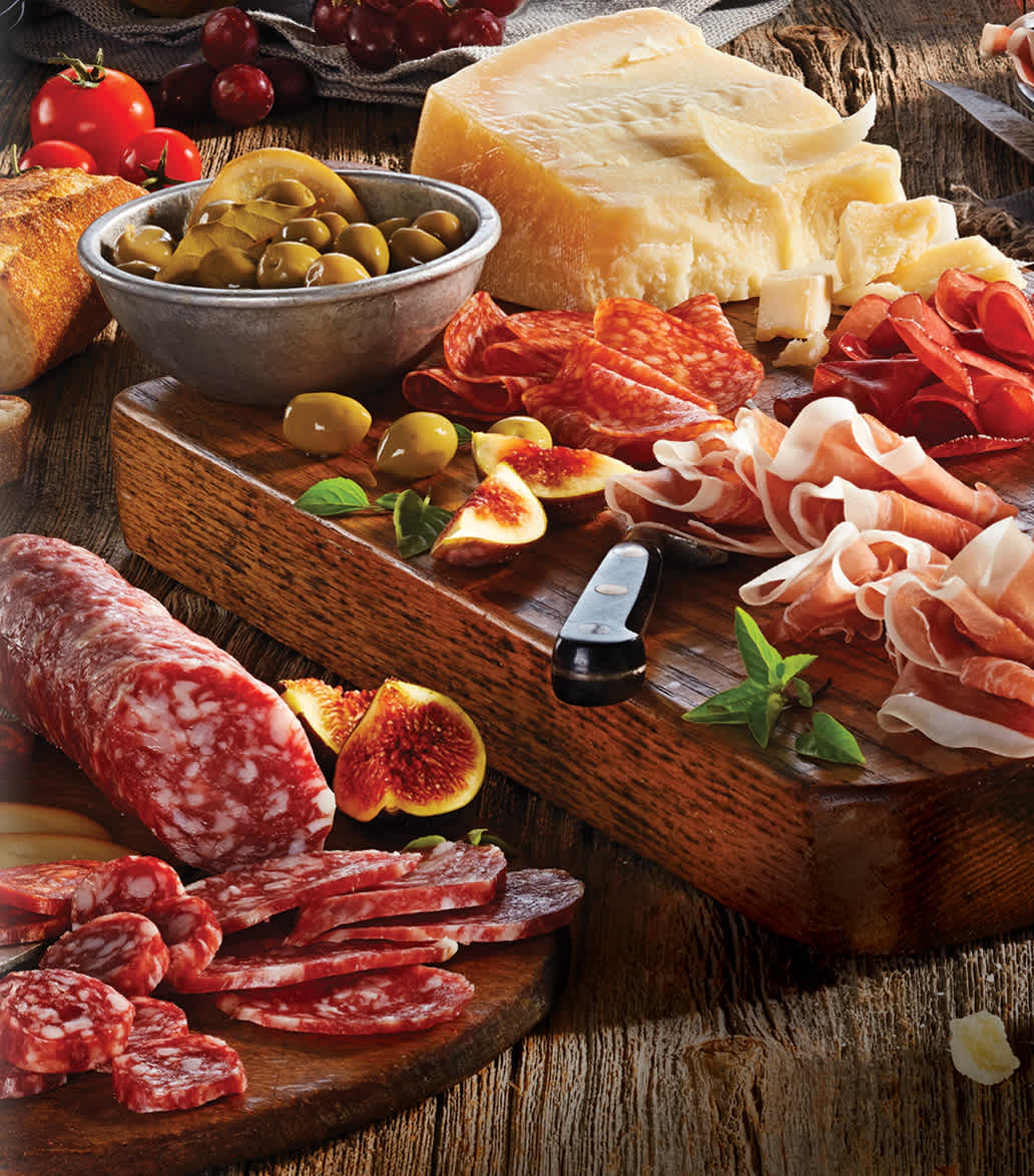 Charcuterie Italiano on wooden board