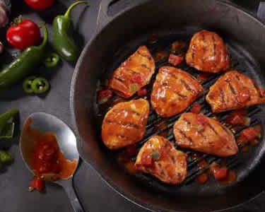 Chicken Breast Grillers on Cast Iron with Peppers