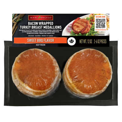 Bacon Wrapped Turkey Medallions Sweet BBQ Pkg