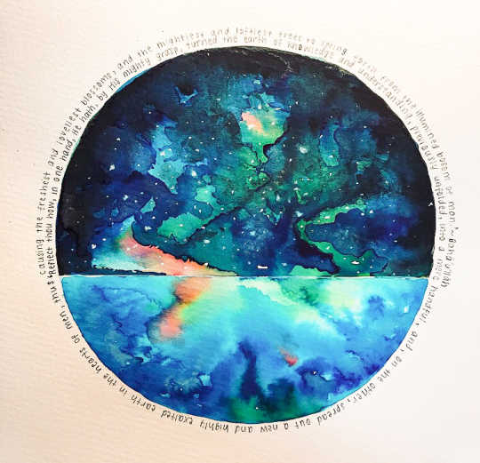 Watercolor painting inspired by Writings of Bahá'u'lláh