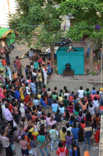 Traveling puppet show in Madhya Pradesh, India
