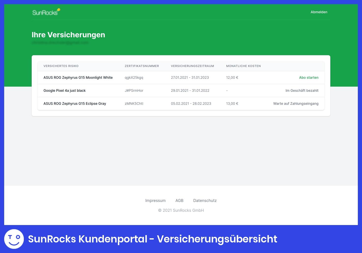SunRocks Kundenportal - Versicherungsübersicht
