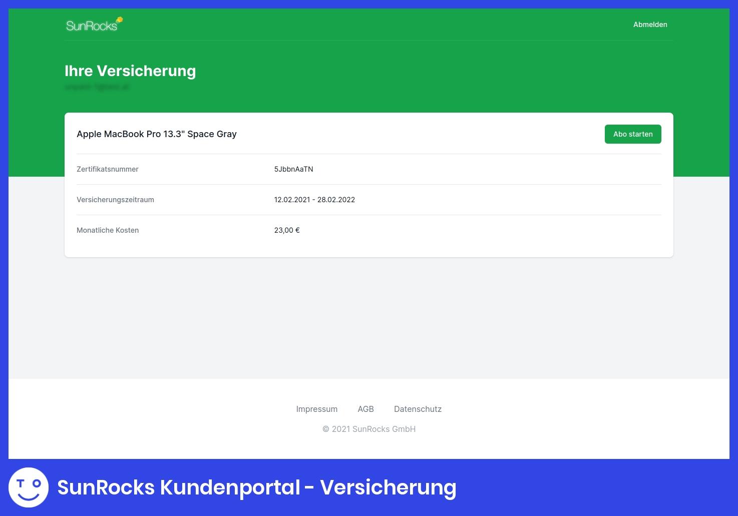 SunRocks Kundenportal - Versicherung