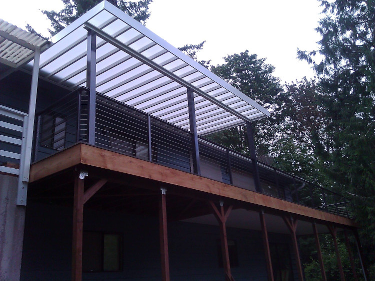 Second story deck, cable handrailing, and patio cover