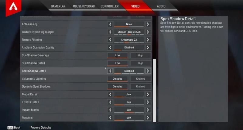 Advanced Video Settings Apex Legends