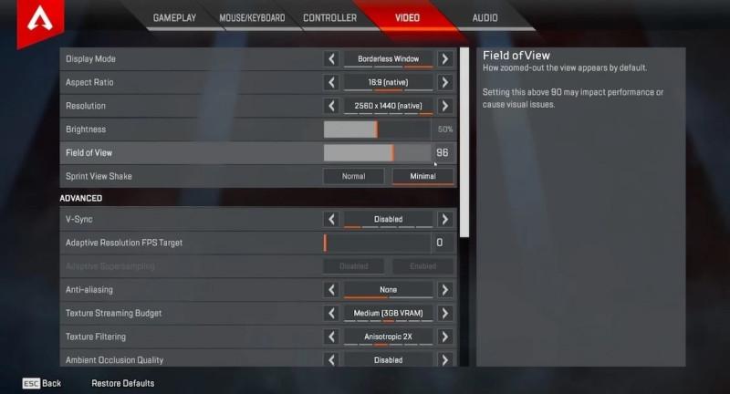 Apex Legends Video Settings