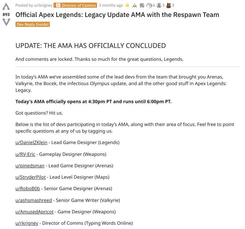 Apex Legends Reddit AMA