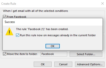 Running a rule to all Outlook emails