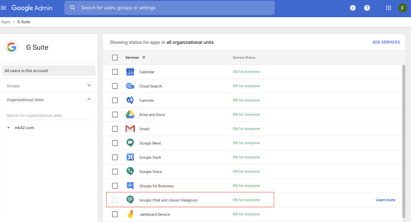 Gsuite chat admin