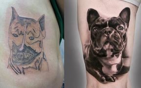 Dog-tattoo-comparison-Bad-tattoo-on-left-side-good-tattoo-on-right-side