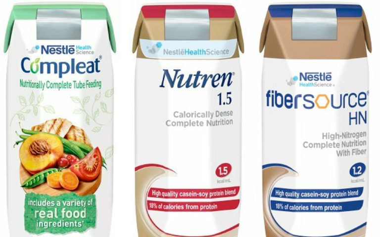 Images of three enteral feeding products