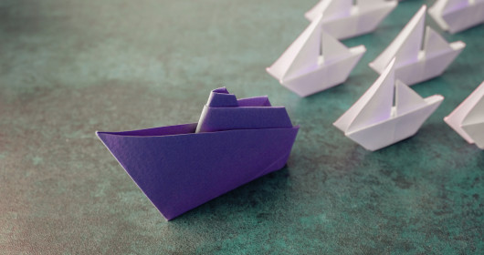 Close-up image of paper boats