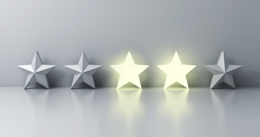 five silver stars in a row