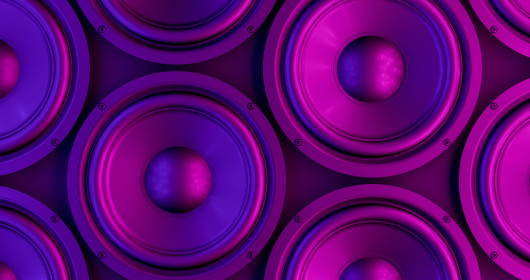 close up of purple speakers