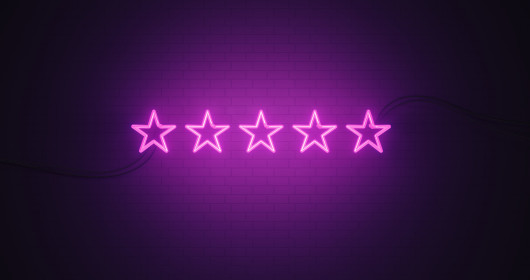 Purple neon five stars