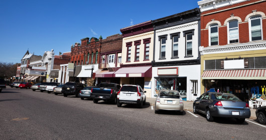 photo of street in small twon of Baraboo in Sauk County, Wisconsin