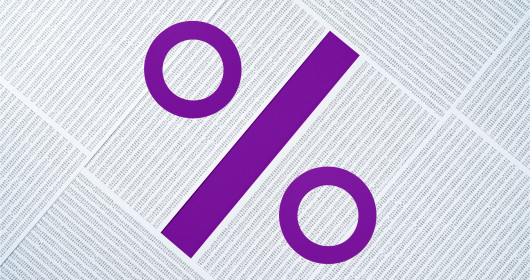 Percentage Sign Made of Data Sheets Pile