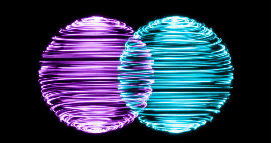 Spinning Light Trails Spheres Intersection on Black Background