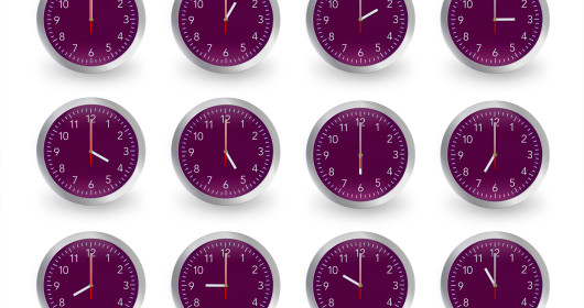 Twelve purple clocks, 12 hours.