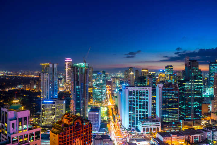 The skyline of Manila at night