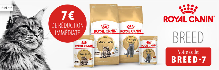 - 7 € sur la nourriture Royal Canin Breed pour chat !