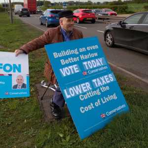 Robert Halfon MP campaigning for election in his Harlow constituency