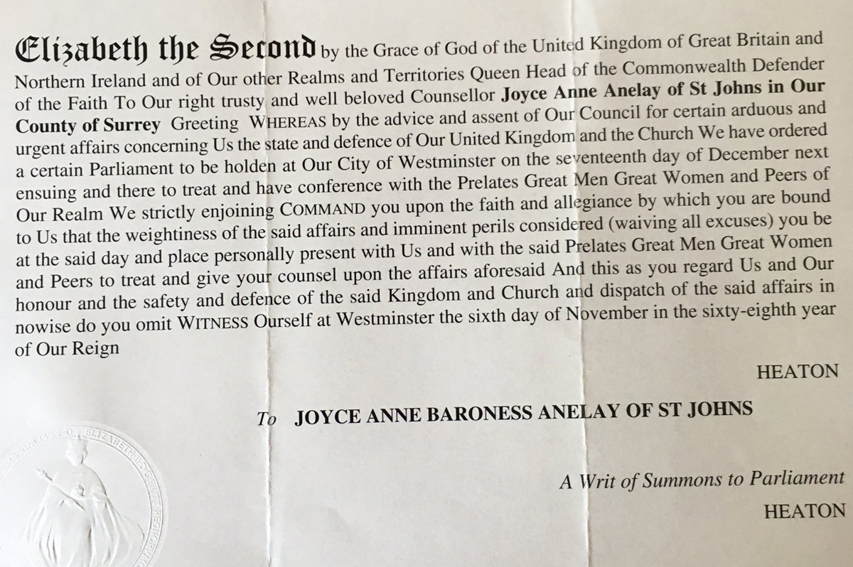 Writ of Summons for Baroness Anelay
