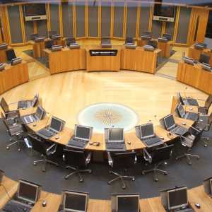 Photo of an empty Senedd chamber, National Assembly for Wales