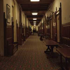 The committee corridor in the Palace of Westminster, UK Houses of Parliament