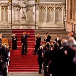President Barack Obama addressing the Houses of Parliament in Westminster Hall during his 2011 state visit.