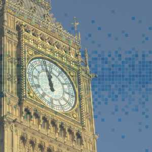 Big ben with data graphic superimposed on top of it