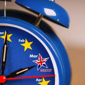 Photo of a clock showing the countdown to Brexit