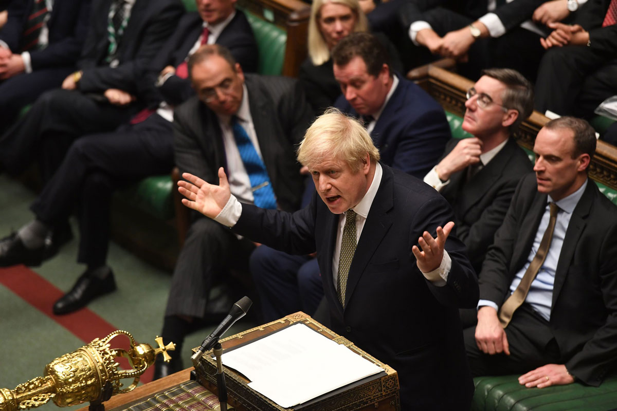 Prime Minister Boris Johnson speaking during the debate on the Queen's Speech, State Opening of Parliament, December 2019 (©UK Parliament / Jessica Taylor)