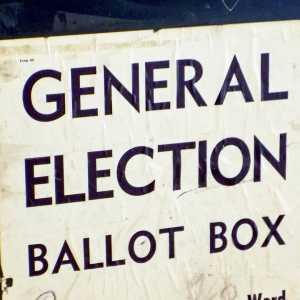 A general election ballot box.