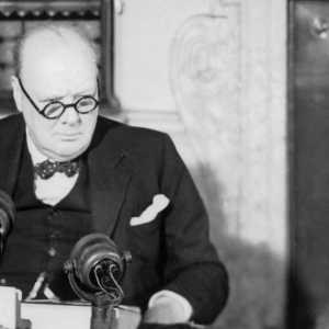 Winston Churchill at a BBC microphone about to broadcast to the nation on the afternoon of VE Day, 8 May 1945 (© Crown Copyright: IWM)