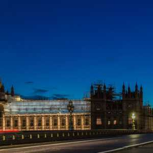 UK Houses of Parliament surrounded by scaffolding