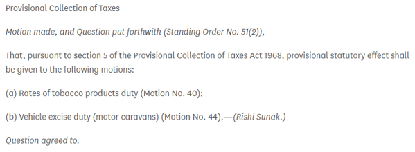 Provisional Collection of Taxes motion - 11 April 2020