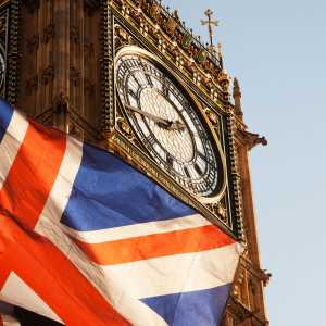 Big Ben with the Union Jack flag