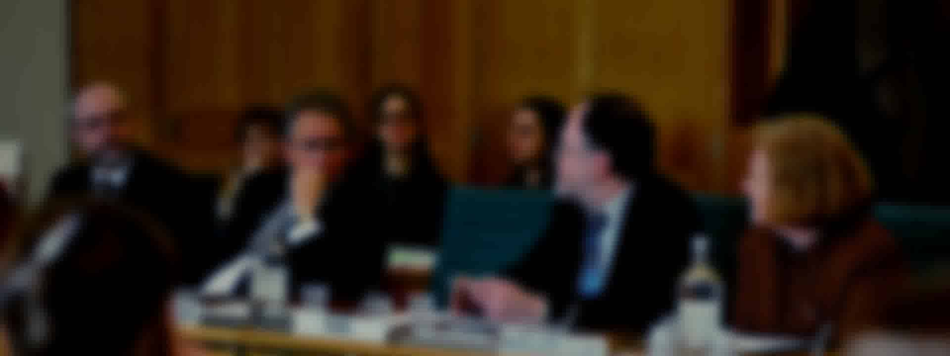 A blurred image of a select committee panel.