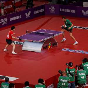 A table tennis match