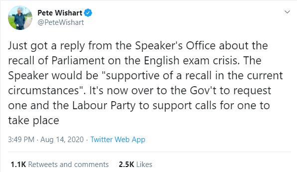 Pete Wishart tweet re recall of Parliament