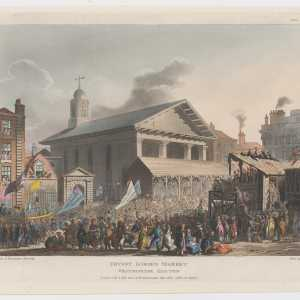 Covent Garden Market, Westminster election, 1 Jully 1808 (designed and etched by Thomas Rowlandson), This print records temporary wooden stands erected outside St.Paul's Church in Covent Garden Market to allow politicians running for Parliament in the Westminster election to address voters. On this occasion a large crowd has gathered, carrying banners and spilling out into the square, with some figures perched on a roof at right to listen to a speaker. (Source: The Metropolitan Museum of Art)