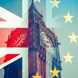 EU and UK flags superimposed on Big Ben, UK Parliament, Westminster