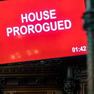 Prorogation on a screen in Parliament, Westminster
