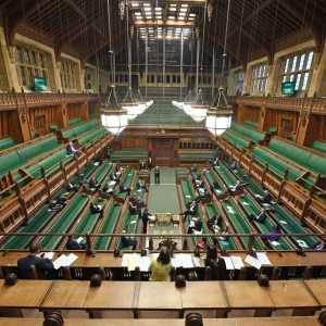 A sparsely attended debate on the Coronavirus Bill in the House of Commons on 23 March 2020 as social distancing rules are implemented in the Chamber and the public and press galleries. (Copyright: @UK Parliament/Jessica Taylor. Reproduced with the permission of Parliament.)